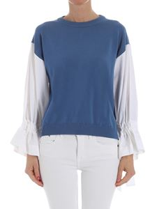 Erika Cavallini Semi-couture - Sky blue top with white sleeves