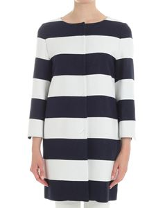 Herno - Blue and white striped overcoat
