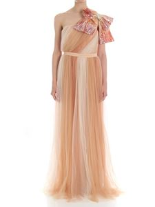 Elisabetta Franchi - Pink, beige and white pleated dress