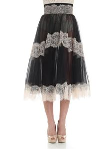 Elisabetta Franchi - Black tulle skirt with lace inserts