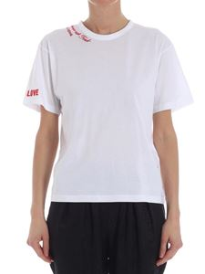 Stella McCartney - White T-shirt with red embroideries