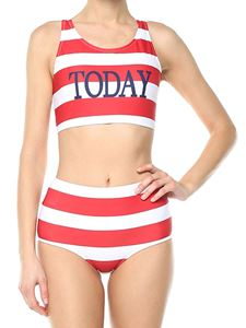 Alberta Ferretti - White and red striped Today bikini