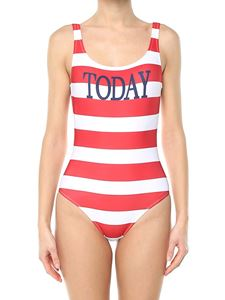 Alberta Ferretti - Red and white Today striped swimsuit