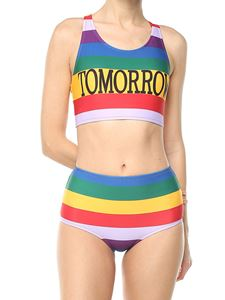Alberta Ferretti - Multicolor striped Tomorrow bikini