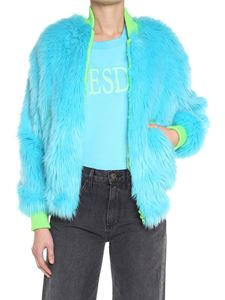 Alberta Ferretti - Light blue eco-fur bomber