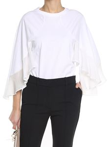 Chloé - White jersey top with chiffon inserts