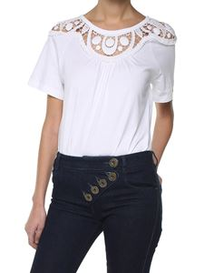 Chloé - White cotton t-shirt with crochet lace