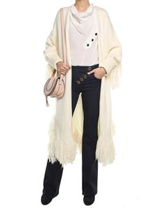Chloé - Cream virgin wool coat with fringes