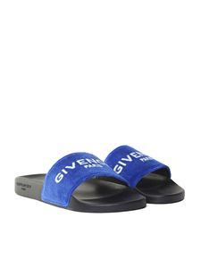 Givenchy - Blue velvet slides with logo