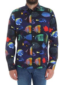 Paul Smith - Blue shirt with tropical fish print