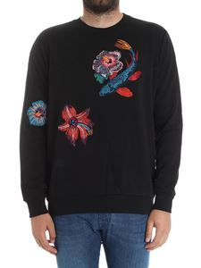 Paul Smith - Black sweatshirt with flowers embroidery