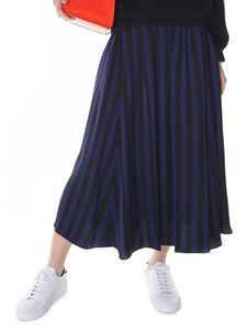Kenzo - Flared midi black and blue striped skirt