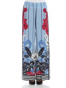 KI6? Who are you? - Light blue floral print trousers