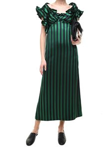Kenzo - Black and green striped long dress