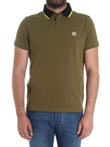 Moncler - Military green polo shirt with fluo embroidery