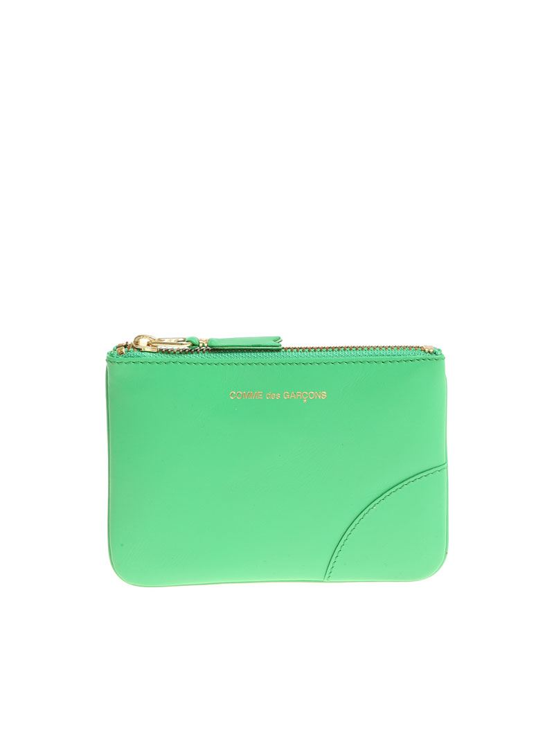 Comme Des Garçons LEATHER CLASSIC POUCH IN GREEN