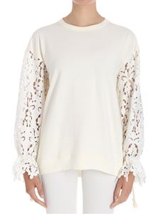 See by Chloé - Cream-color sweatshirt with lace sleeves