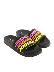 Joshua Sanders - Black slides with neon 3D logo