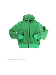 Stone Island Junior - Green jacket with removable hood