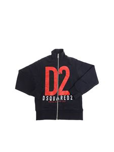 Dsquared2 - Blue sweatshirt with red logo print