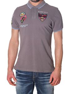 Blauer - Gray cotton pique polo