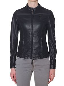 Blauer - Black lined sheep leather jacket