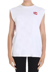 Etre Cecile - White French Lines sleeveless T-shirt