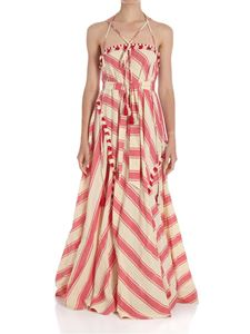 DODO BAR OR - Ecru and red flared striped dress