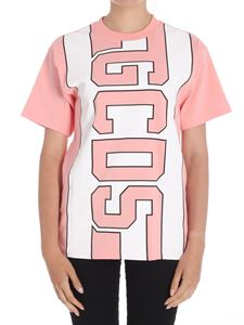 GCDS - Pink crewneck t-shirt with logo
