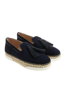 Tod's - Blue suede espadrilles with tassels