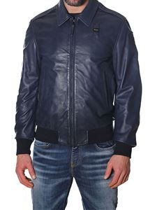 Blauer - Blue leather Andrew bomber jacket