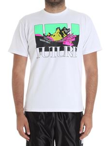 Used Future - White t-shirt with multicolor print
