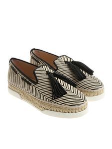 Tod's - Ivory and black espadrilles