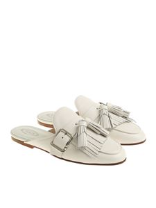Tod's - White mules with fringes and tassels