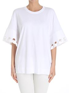 Victoria Victoria Beckham - White t-shirt with cut out on the sleeves