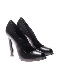 Casadei - Black leather open toe pumps