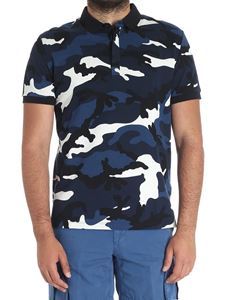 Valentino - Camouflage polo in shades of blue