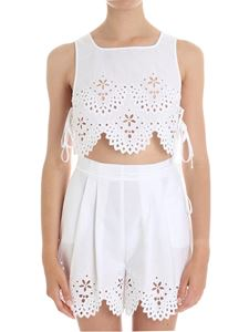 Ermanno Scervino - White Sangallo lace crop top