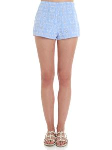 Ermanno Scervino - Light blue Sangallo lace shorts