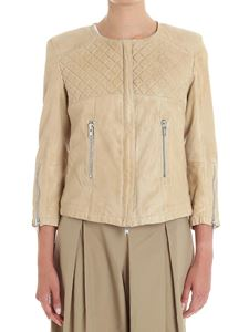 S.W.O.R.D. - Beige quilted leather biker jacket
