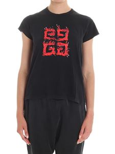 Givenchy - Black T-shirt with Flame pattern and logo
