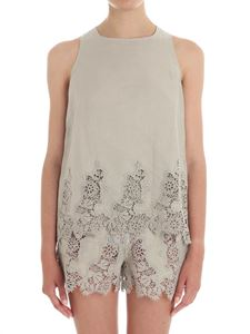 Ermanno Scervino - Taupe top with macramé insert