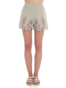 Ermanno Scervino - Taupe shorts with macramé insert