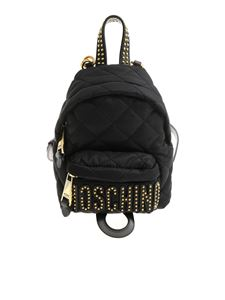 Moschino - Black matelassé branded backpack