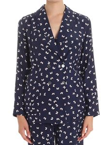 Parosh - Blue butterfly print double-breasted blazer