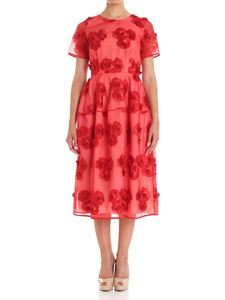 Parosh - Red floral embroidery midi dress