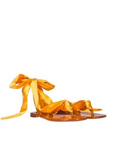 Casadei - Orange rubber thong sandals with ribbon