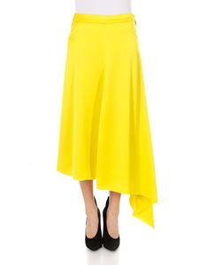 MSGM - Yellow asymmetric satin skirt