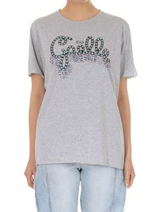 Gaelle Paris - Grey crew-neck T-shirt with logo