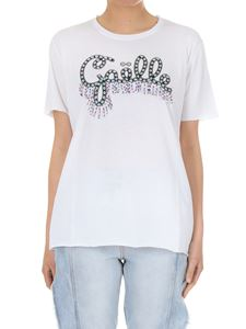 Gaelle Paris - White crew-neck T-shirt with logo